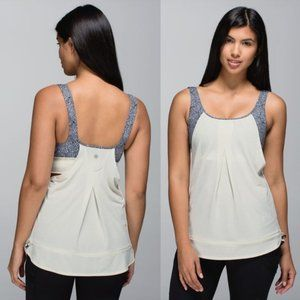 Lululemon White Run Times Tank Built In Floral Bra